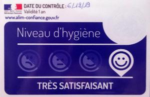 Contrôle hygiène très satisfaisant